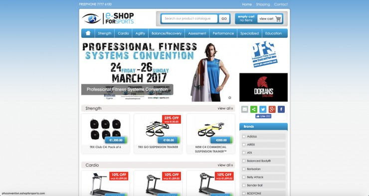 E-commerce  Web Design - www.eshopforsports.com