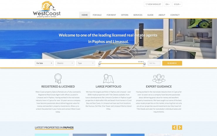 Real Estate Web Design - www.westcoastcyprus.com