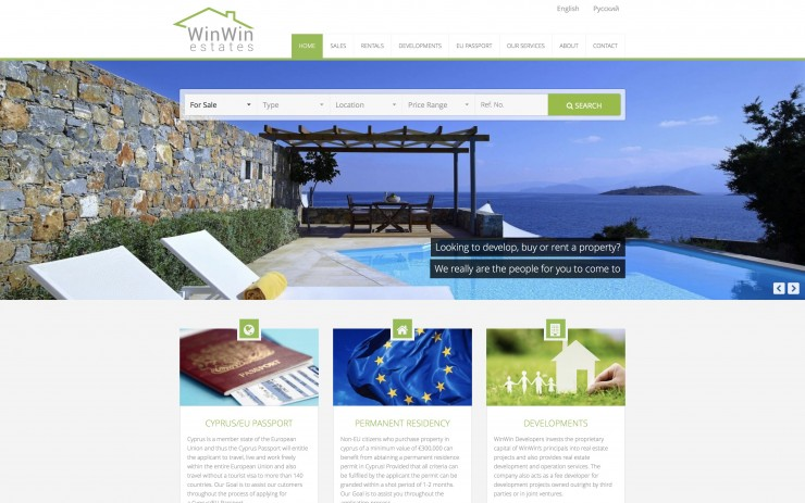 Real Estate Web Design - www.winwinestates.net