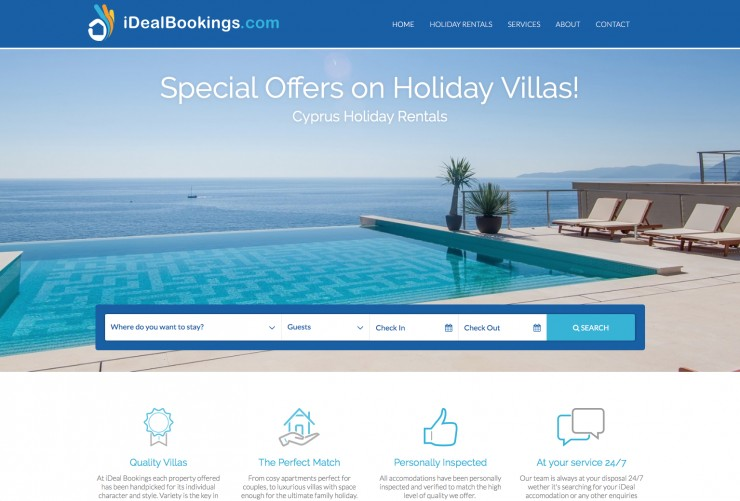 Holiday Rentals Web Design - www.idealbookings.com