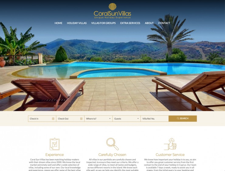 Holiday Rentals Web Design - www.coralsunvillas.com